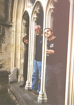 Photo (29KB): The PPARC web team in the cloisters of Canterbury Cathedral