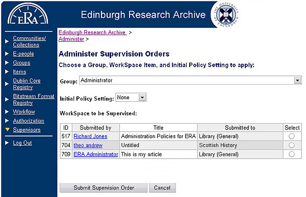 screenshot (67KB) : Figure 11: Administrative tools for applying supervision orders