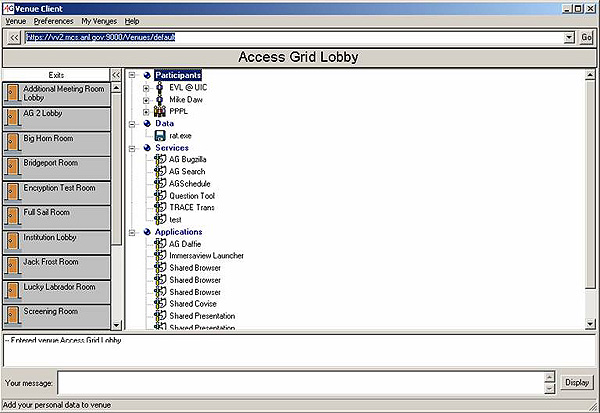 screenshot (69KB): The Access Grid 2 client interface