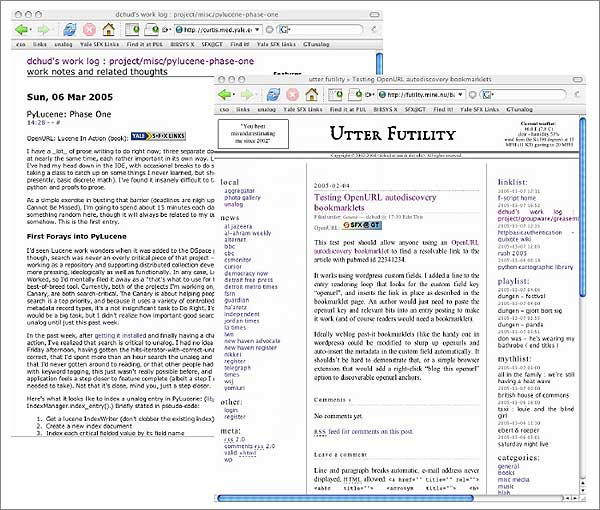 screenshot (64KB): Figure 5: OpenURL Autodiscovery via Simple Weblog Plug-ins