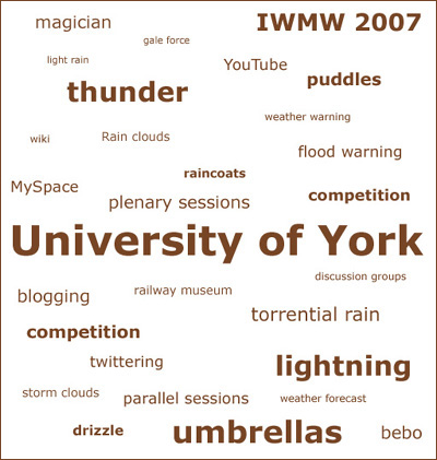 image (62KB) : Tag Cloud IWMW 2007 © Shirley Keane 2007. light rain, torrential rain, storm clouds, gale force, umbrellas, bebo, wiki, competition, blogging, IWMW 2007, twittering, YouTube, discussion groups, parallel sessions, plenary sessions, MySpace, flood warning, weather warning, drizzle, raincoats,lightning, thunder, competition, railway museum, magician, puddles, University of York