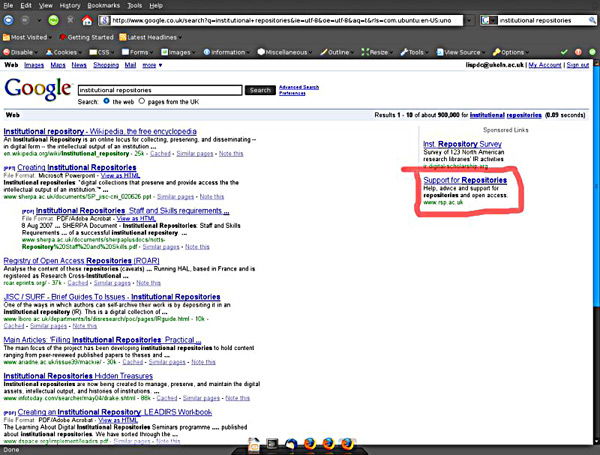 screenshot (100KB) Figure 1 : screenshot showing the RSP Pay Per Click advert alongside a Google search for 'Institutional Repositories'
