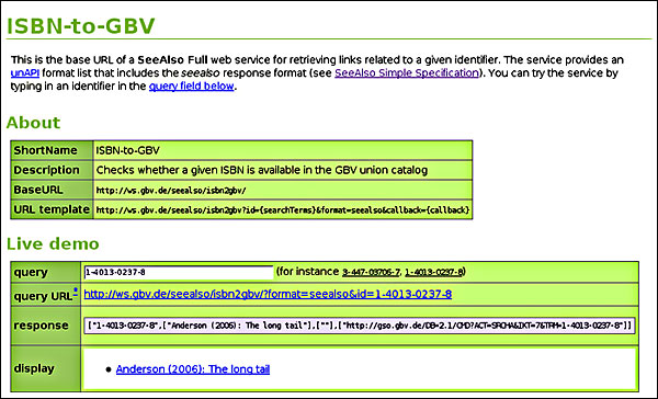 screenshot (70KB) : Figure 3 :HTML interface to a SeeAlso service