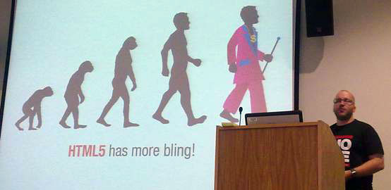 photo (21KB) : Patrick Lauke expounds on the evolution of HTML