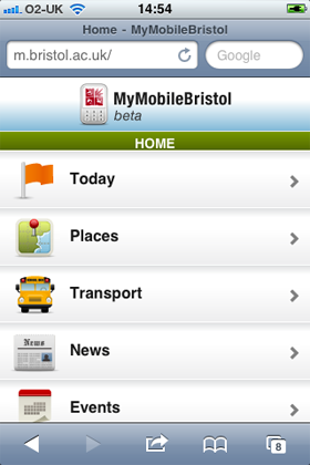 Figure 3: The home page of m.bristol.ac.uk