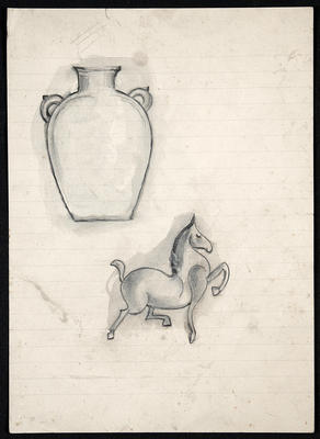 Figure 3: Lucie Rie, Sketches in pencil, ink, and watercolour, 1910s.  Lucie Rie Archive, Craft Study Centre